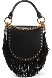 Sacai Horseshoe Suede Trimmed Studded Leather Shoulder Bag Black