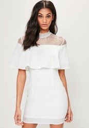 Missguided White High Neck Lace Overlay Bodycon Dress