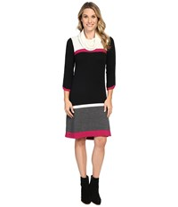 Hatley Cowel Neck Sweater Dress Color Block Women's Dress Multi