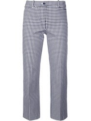 Michael Kors Cropped Check Trousers Blue