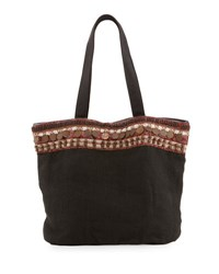 Ale By Alessandra Cleopatra Beaded And Embellished Linen Tote Bag Black