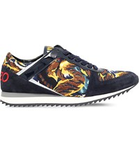Kenzo Tiger Print Leather And Suede Trainers Other