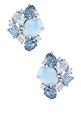 Sterling Silver Larimar London Sky Blue And White Topaz Cluster Earrings