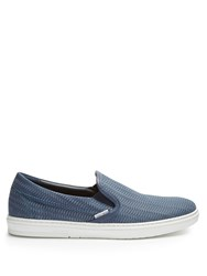 Jimmy Choo Grove Woven Leather Trainers Blue