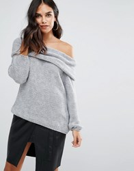 Love Cold Shoulder Cowl Neck Sweater Gray