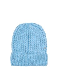 Missoni Ribbed Knit Alpaca Blend Beanie Hat Blue