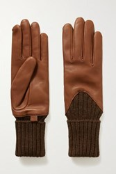 Agnelle Cecilia Leather And Ribbed Alpaca Gloves Tan