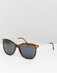 Asos Design Square Sunglasses In Matte Tort With Smoke Lens Brown