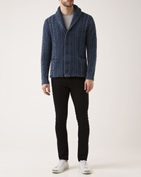 Denim And Supply Ralph Lauren Faded Blue Cable Knit Cotton Cardigan