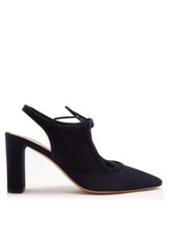 The Row Camil Suede Slingback Pumps Navy