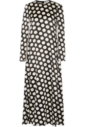 Calvin Klein Collection Polka Dot Satin Maxi Dress Black