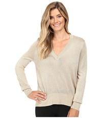 Michael Michael Kors Metallic V Neck Sweater High Low Khaki Women's Sweater