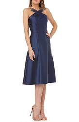 Kay Unger Beaded Neck Mikado Tea Length Dress Navy