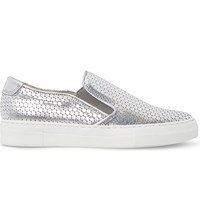 Dune Ellan Metallic Leather Skate Shoes Silver Metallic