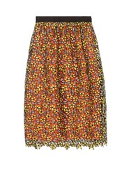 Self Portrait Daisy Guipure Lace Midi Skirt Yellow Multi