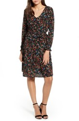 One Clothing Floral Peplum Dress Black Ground Floral