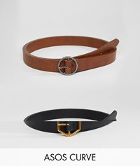 Asos Design Curve 2 Pack Hexagon And Circle Buckle Waist And Hip Belts Multi