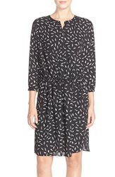 Women's Nydj 'Lauren' Pleat Back Georgette Shirtdress Feathered Black