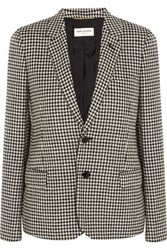 Saint Laurent Suede Trimmed Houndstooth Wool Tweed Blazer Black