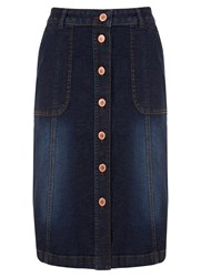 Mint Velvet Indigo Denim Midi Skirt Blue