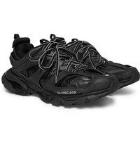 Balenciaga Track Mesh And Leather Sneakers Black