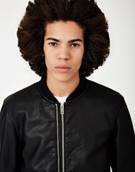 The Idle Man Faux Leather Bomber Jacket Black