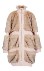 Christian Siriano Faux Fur Paneled Coat Pink
