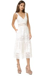 Self Portrait Plunge Prairie Dress White