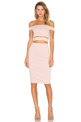 Nicholas Ponti Off Shoulder Strap Dress Blush