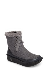 Alegria Women's Twisp Lace Up Boot With Faux Fur Lining Ash Wool Leather