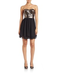 Guess Snakeskin Sequin Fit And Flare Dress Black Gold