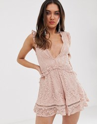 Love Triangle Plunge Front Eyelash Lace Playsuit With Flippy Hem In Soft Mink Pink