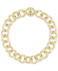 Signature Gold Double Link Chain Bracelet In 14K Over Resin Yellow Gold