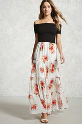 Forever 21 Floral Tiered Seam Maxi Skirt Cream Red