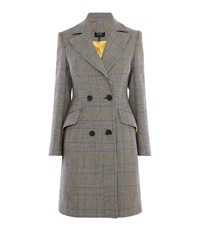 Karen Millen Double Breasted Check Coat Black And White