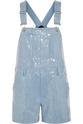 Moschino Sequined Denim Playsuit Blue