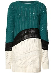 Prabal Gurung Chunky Knit Colour Block Jumper Green