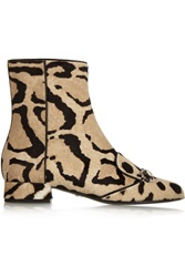Gucci Leopard Print Calf Hair Ankle Boots Animal Print