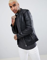 Goosecraft Turin Leather Biker With Quilted Shoulders In Black