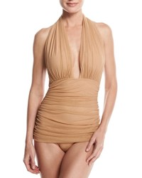 Norma Kamali Bill Ruched Mesh Halter Maillot Swimsuit Camel