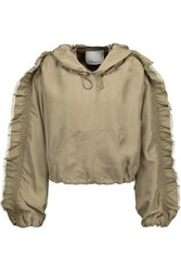 3.1 Phillip Lim Cropped Ruffled Silk Crepe De Chine Hooded Jacket Army Green