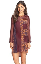 Charlie Jade Silk Shift Dress Orange Eggplant