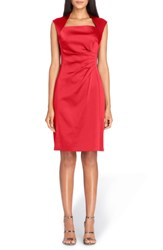 Tahari Women's Stretch Satin Sheath Dress Claret