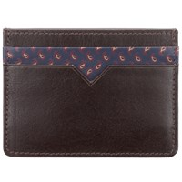 John Lewis Paisley Leather Card Holder Brown