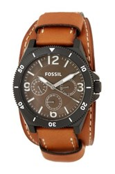 Fossil Men's Leather Strap Watch Brown