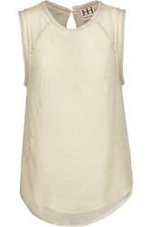 Haute Hippie Chain Of Fools Embellished Silk Crepe De Chine Top Off White