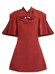 Ellery Holly Of Hollies Caped Cotton Blend Dress Burgundy