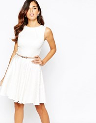 Closet Belted Flare Dress In Jacquard Ivory