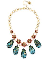 Betsey Johnson Gold Tone Pave Rose And Blue Crystal Statement Necklace Multi