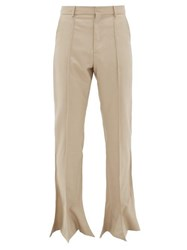 Y Project High Rise Flared Hem Wool Trousers Beige